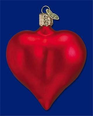 Large Matte Red Heart Old World Christmas Glass Valentine's Day Ornament 30014