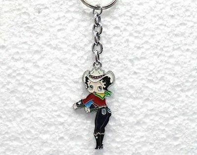 FAKE FALSO porta chiavi BETTY BOOP COWBOY cm 5,5  in METALLO SMALTATO