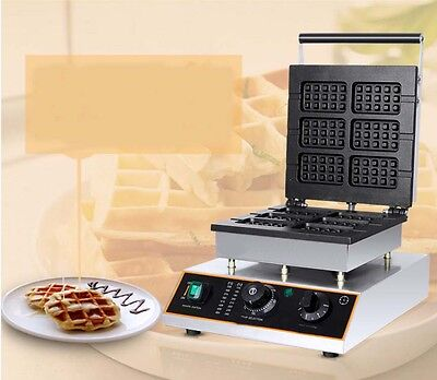 New Single Head Square Commercial Non Stick Plates Stainless Steel Waffle Maker*