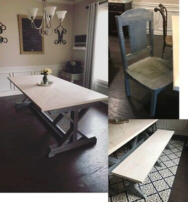 HANDMADE DINING TABLE Farmhouse Room Set with Chairs and Bench