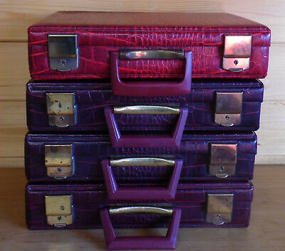 4 x Vintage Carrying Storage Cases Job Lot - Each Holds 32 Cassette Tapes
