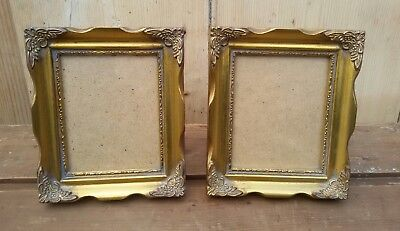 Pair Of Small Vintage French Style Ornate Swept Gold Picture Photo Frames