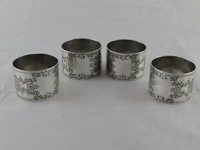 SUPERB SET 4 STERLING SILVER NAPKIN RINGS SHEFFIELD 1917 157 g NO INITIALS