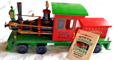 """Vintage EVERGREEN EXPRESS Musical Wooden Locomotive Train 12.5"""" Roman 1986 excl"""