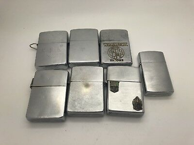 Lot Of 7 Vintage Zippo Lighters 1940's & Up Advertising Etc. 2 No Inserts