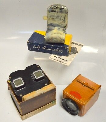 3 Viewers for slides and steroscopic picture reels with 7 reels- all different t