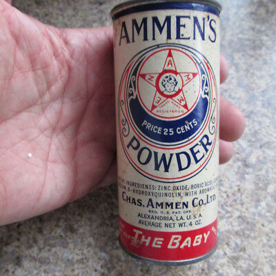 Vintage Ammen's 25 cent Powder can tin Chas. Ammen Co. Alexandria, LA LOUISIANA