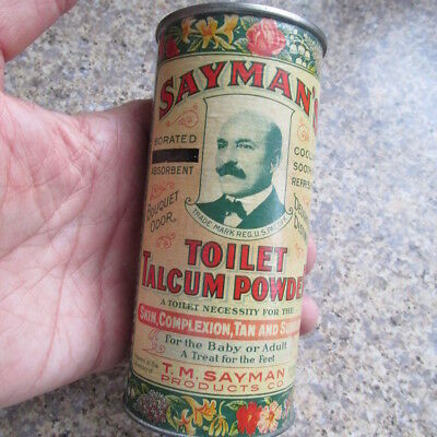Vintage Sayman's Toilet Talcum Powder can tin St. Louis, MO. MISSOURI