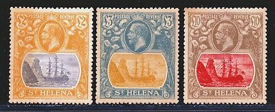 St.helena 1922 £2, £3 & £10 Values Mint. No Gum.   Forgeries.  A829