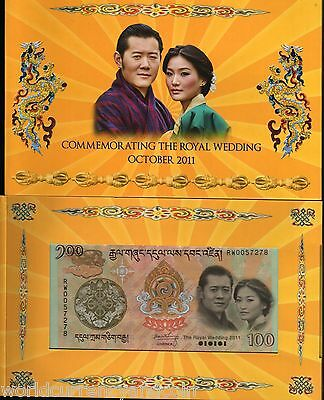 Bhutan 100 Ngultrum 2011 Commemorative Royal Wedding Unc King Queen Note+ Folder
