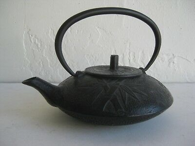 Fine Old Antique Japanese Cast Iron Tetsubin Teapot Bamboo Cherry Blossom SIGNED