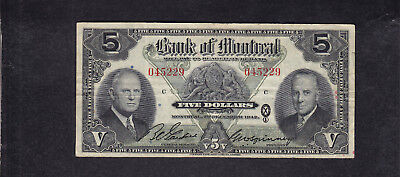 1942 Canada Montreal 5 Dollars Chartered Bank Note