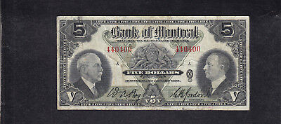 1935 Canada Montreal 5 Dollars Chartered Bank Note