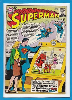 """Superman #162_July 1963_Very Good_""""superman-Red, Superman-Blue""""_Silver Age Dc!"""