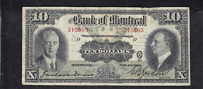1931 Canada Montreal 10 Dollars Chartered Bank Note