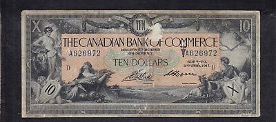 1917 Canada Commerce 10 Dollars Chartered Bank Note