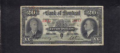 1938 Canada Montreal 20 Dollars Chartered Bank Note