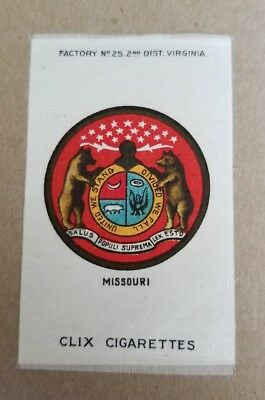 1910 CLIX Cigarettes Tobacco Silk US State MISSOURI Coat of Arms Great Colors!