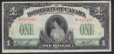 1917 Dominion Of Canada 1 Dollar Bank Note One