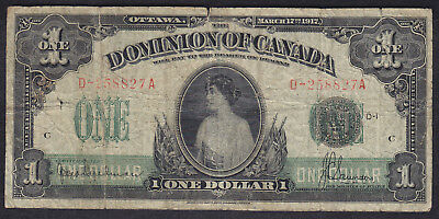1917 Dominion Of Canada 1 Dollar Bank Note Seal Over One