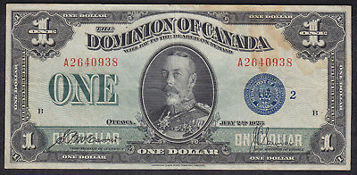 1923 Dominion Of Canada 1 Dollar Bank Note Blue Seal