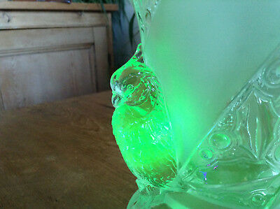 Art Deco Walther & Sohne ? Uranium ? Glass Clear & Satin Cockatoo Bird Vase