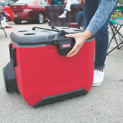 Coleman 3000004144 55-Quart EZ-Lift Rugged 55 A/T Wheeled Cooler - Red
