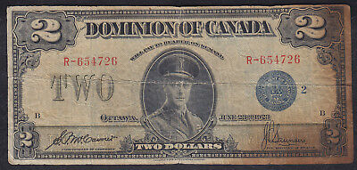 1923 Dominion Of Canada 2 Dollars Bank Note Blue Seal