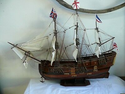 Large Endeavour Ship Model Captain Cook Boat Wooden Display Naval Collectors