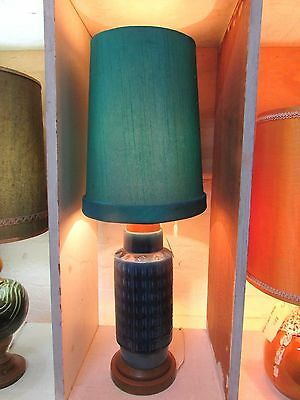 VINTAGE POTTERY LAMP BASE AND SHADE MID CENTURY 1960s RETRO CERAMIC TIMBER