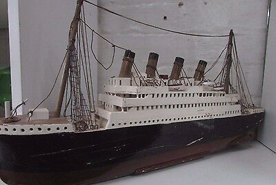 Hand Made Scratch Built Model Boat Ss Titanic Ship Vintage Wooden