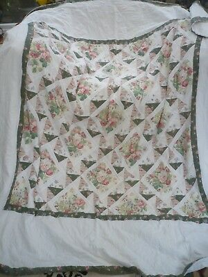"""Laura Ashley Antique rare padded green roses patchwork pretty quilt 86w""""/96""""l"""