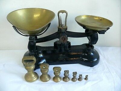 Set Antique Libra Cast Iron Balance Scales & Brass Bell Pounds Ounces Weights