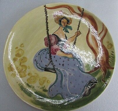 Australian Pottery Martin Boyd Hand Painted Lady On Swing Plate Studio Ceramic