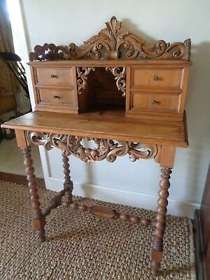 Vintage Pine Writing Desk with Gallery