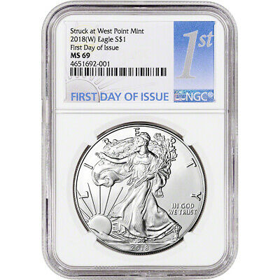 2018-(W) American Silver Eagle - NGC MS69 - First Day of Issue - 1st Label