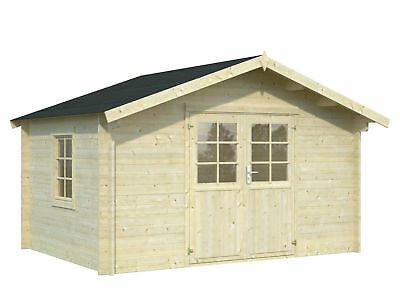 34 mm gartenhaus leipzig seitenfenster 4x4 m ger tehaus holzhaus blockhaus eur. Black Bedroom Furniture Sets. Home Design Ideas