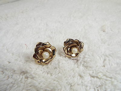 Goldtone Rose Flower Bead Screwback Earrings (A8)