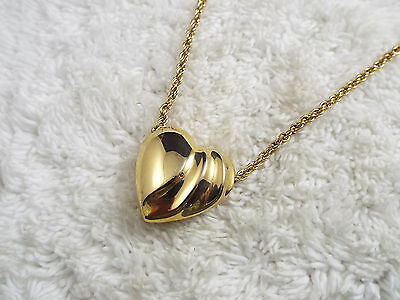 Goldtone Puffed Heart Pendant Necklace (C29)