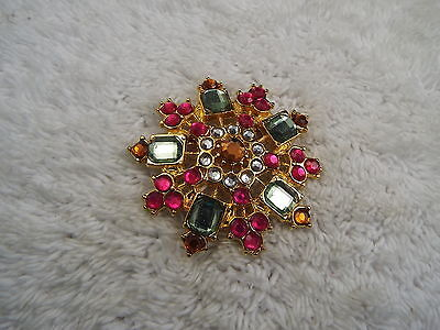 Goldtone Colorful Pastel Faux Rhinestone Pin (A45)
