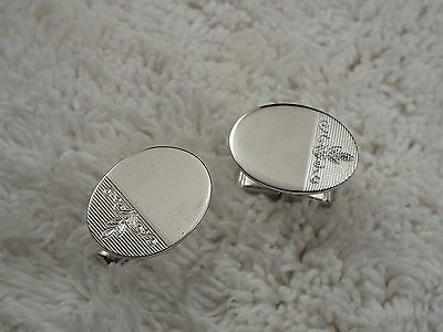 Silvertone Etched Oval Cuff Links (C78)