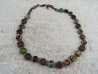 Mixed metal Green Brown Cabochon Necklace (A52)