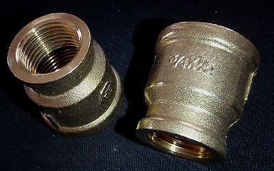 "BRASS BRONZE REDUCER COUPLING 3/4"" x 1/2"" NPT PIPE BRC-075-050"