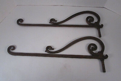 Pair Antique Victorian Cast Iron Metal Swing Arm Curtain Rods 17-1/2""