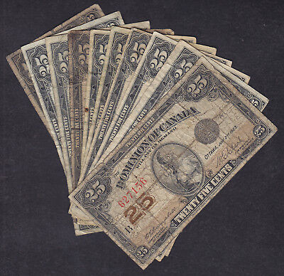 1923 Dominion Of Canada 25 Cents Bank Note Lot Of 10