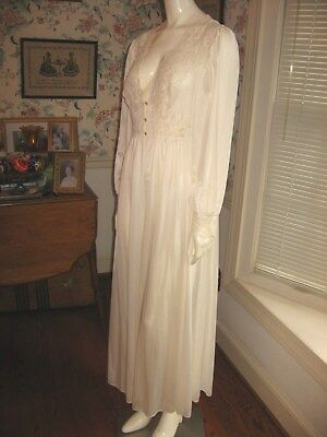 Vtg Shadowline Ivory Long Nylon Peignoir Robe Long Sleeves Stretch Lace Large