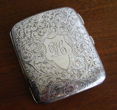 Fine Antique Victorian Chased Scollwork Sterling Silver Vtg Cigarette Case 87g
