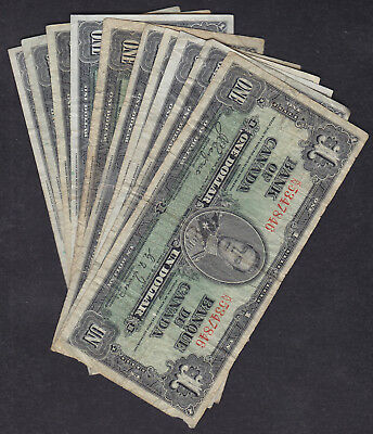 1937 Canada 1 Dollar Bank Note Lot Of 10