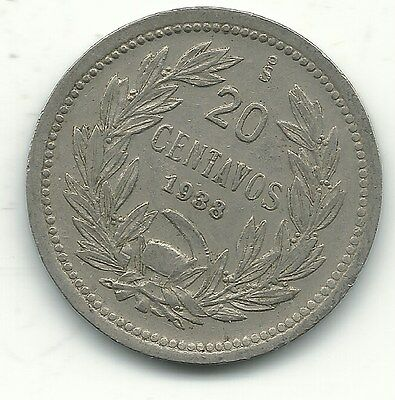 A Higher Grade 1938 S Chile 20 Centavos Coin-Defiant Condor On Rock-Jan239