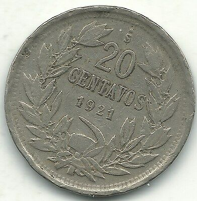 A Very Nice 1921 S Chile 20 Centavos Coin-Defiant Condor On Rock-Jan235